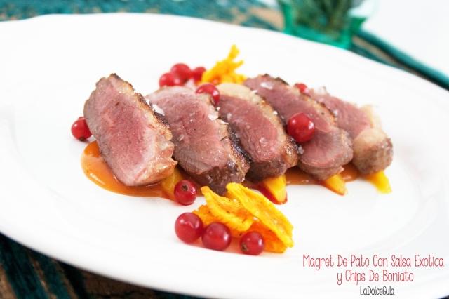 © La Dolce Gula Navidad Magret de pato con salsa exotica y chips de boniato ©