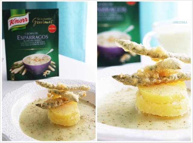 © La Dolce Gula Crema De Espárragos Con Milhojas De Patata Y Tempura De Espárragos ©
