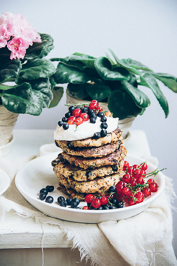 Buckwheat Poppy Seed Pancakes with Blueberries